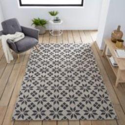 Iswik Flat-Weave Rug with Cement Tile Motif | La Redoute (UK)