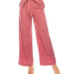 Pink Plaid Tie-Waist Palazzo Pants - Women | zulily