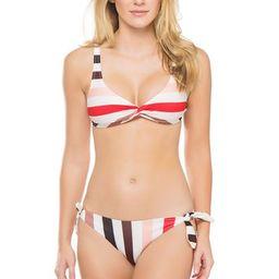 Jane Twist Bralette Bikini Top - Lipstick Stripe - L   Everything But Water