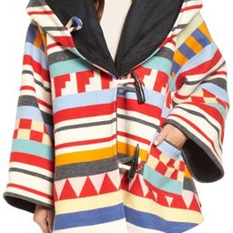 Women's Lindsey Thornburg X Pendleton Wool Blend Hooded Cape, Size One Size - White   Nordstrom
