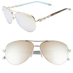 Women's Tiffany & Co. 58Mm Aviator Sunglasses - Gold/ White Mirror | Nordstrom