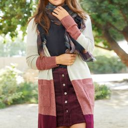 Long Sleeve Colorblock Duster Cardigan | Maurices