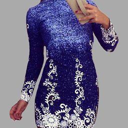 Blue Random Aquatic Print Long Sleeved Mini Dress   YOINS