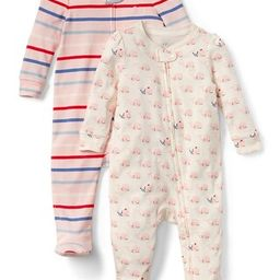 Gap Baby Print Footed One-Piece (2-Pack) Ivory Frost Size 0-3 M | Gap US