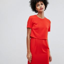 Warehouse Double Layer Shift Dress - Red | ASOS US