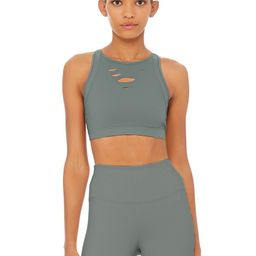 Alo Yoga Ripped Warrior Bra - Concrete - Size XS - Sculpting Performance Knit - Top Weight | Alo Yoga