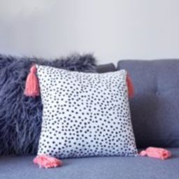 Polka Dot Peach Tassel Cushion Cover  Black and white  Abstract Design Cushions  Cushions with Tassels | Etsy (UK)
