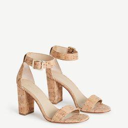 Leda Cork Block Heel Sandals   Ann Taylor (US)
