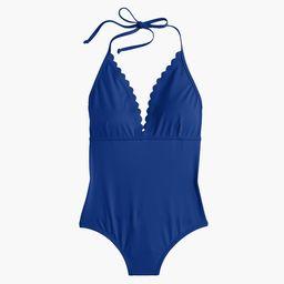 Scalloped V-neck one-piece swimsuit in Italian matte | J.Crew US