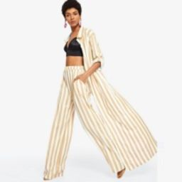 Striped Long Coat With Pants | SHEIN