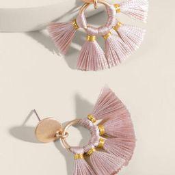 Fayellen Circle Mini Tassel Earrings - Mauve | Francesca's Collections