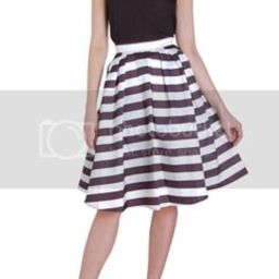 Striped Midi Skirt High Waisted Aline Pleated Swing Fit & Flare, Size Medium In Soft Black/white | Humble Chic (NY)