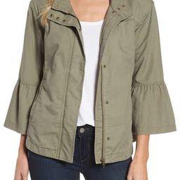 Women's Caslon Flare Sleeve Utility Jacket, Size X-Large - Green   Nordstrom
