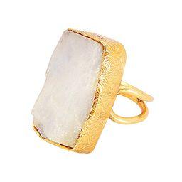 18K Yellow Gold Vermeil Rainbow Moonstone june Birthstone Stacking Fashion Ring | Amazon (US)