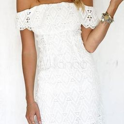 White Lace Dress Off The Shoulder Short Sleeve Slim Fit Bodycon Dress   Milanoo