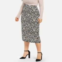 Plus Boxed Pleated Leopard Skirt | SHEIN