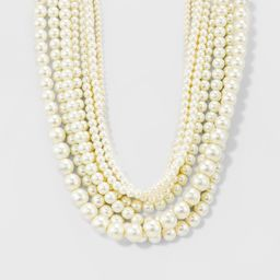 Women's Short Faux Pearl Multi Row Necklace - Gold/White | Target