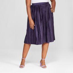 Women's Plus Size Pleated Midi Skirt - Ava & Viv Purple X   Target