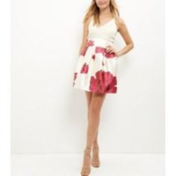 AX Paris Cream Floral Print 2 in 1 Dress New Look | New Look (UK)