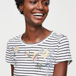 Floral Embroidered Stripe Vintage Soft Tee   LOFT