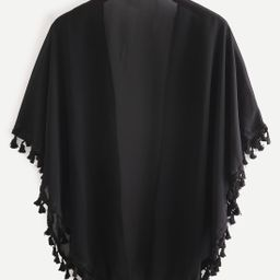 Tassel Trimmed Plain Chiffon Kimono   SHEIN