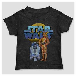 Toddler Boys' Star Wars Short Sleeve Droids T-Shirt - Black 4T   Target