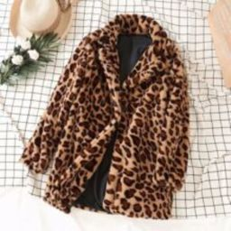 Leopard Print Faux Fur Teddy Coat | SHEIN