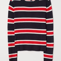 H & M - Ribbed Jersey Top - Blue | H&M (US)