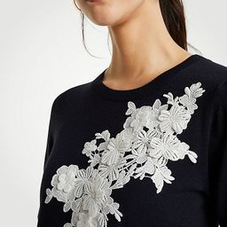Floral Applique Sweater Tee   Ann Taylor (US)