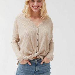 Out From Under Jojo Oversized Thermal Button-Front Top   Urban Outfitters US