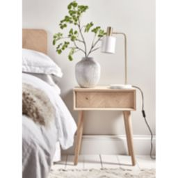 Chevron Oak Bedside Table | Cox and Cox