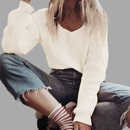 White Knitting One Shoulder Long Sleeves Sweaters   YOINS