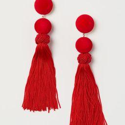 H & M - Tasseled Earrings - Red   H&M (US)