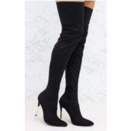 Black Lycra Over The Knee Slim Heel Skin Boot   Pretty Little Thing US