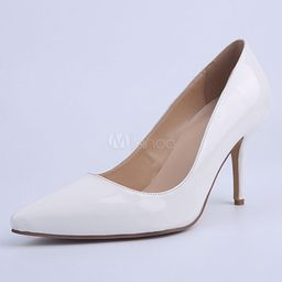 White Pointed Toe PU Pumps For Bride | Milanoo