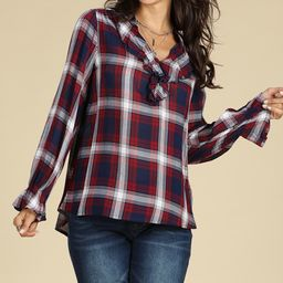 Navy & Red Plaid Ruffle-Accent Bell-Sleeve Tunic - Women & Plus | zulily