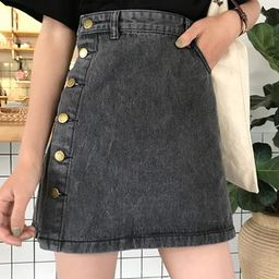 Buttoned A-Line Denim Skirt   YesStyle Global