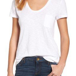 Petite Women's Caslon Short Sleeve Cotton Blend Tee, Size XX-Small P - White | Nordstrom