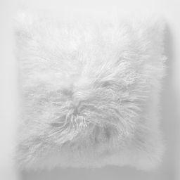 Mongolian Lamb Pillow Cover - Stone White (Square) | West Elm (US)