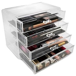 Sorbus Acrylic Cosmetics Makeup and Jewelry Storage Case Display– 4 Large Drawers Space- Saving, Sty   Amazon (US)