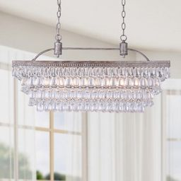 Silver Orchid Taylor Antique Silver 6-light Rectangular Glass Droplets Chandelier | Overstock