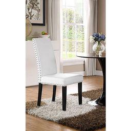 Milton Nailhead Trim White Parson Dining Chair | Overstock