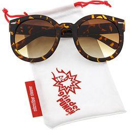 grinderPUNCH Women's Designer Inspired Mod Fashion Oversized Shaped Round Circle Sunglasses Tortoise | Amazon (US)