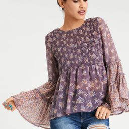 AE Chiffon Smocked Tunic, Lively Lilac | American Eagle Outfitters (US & CA)
