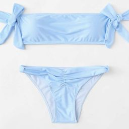 Bow Tie Striped Bardot Bikini Set | SHEIN