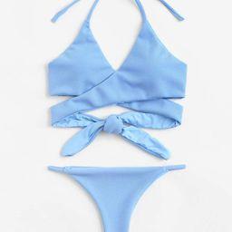 Wrap Knot Halter Bikini Set | SHEIN