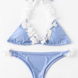 Self Tie Flower Halter Bikini Set | SHEIN