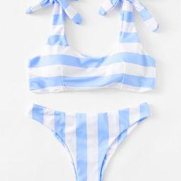 Striped Ruched Detail Bikini Set | SHEIN