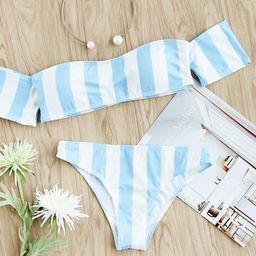 Block Striped Off The Shoulder Bikini Set | SHEIN