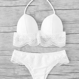 Crochet Ruffle Trim Halter Bikini Set | SHEIN